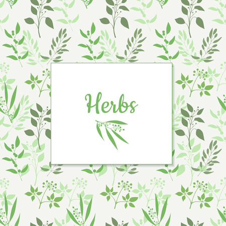 Seamless green plant background with square frame . Endless pattern with green twigs and leaves silhouette. Vector illustration Illustration