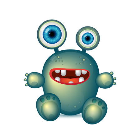 virus bacteria: Green Monster with big eyes and red mouth. Vector cartoon funny germ, green bacteria, cute monster Illustration