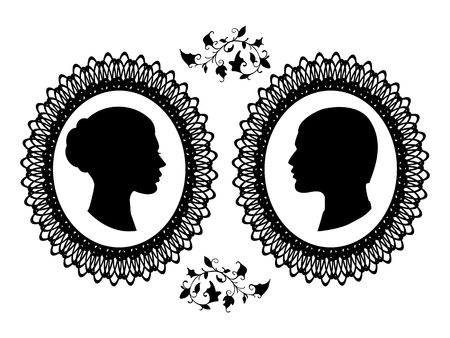 woman black background: Profiles of man and woman in ornate frame. Black silhouette of a couple isolated on white background