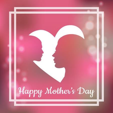 Silhouette of mother and her child with text for Happy Mothers Day. Greeting card
