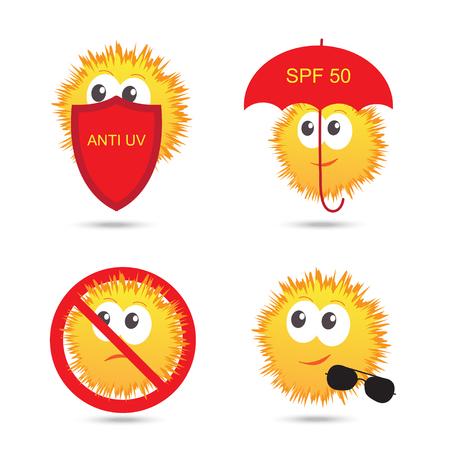 uv: Set of UV Sun Protection and anti UV cartoon icons. Vector illustration isolated on white