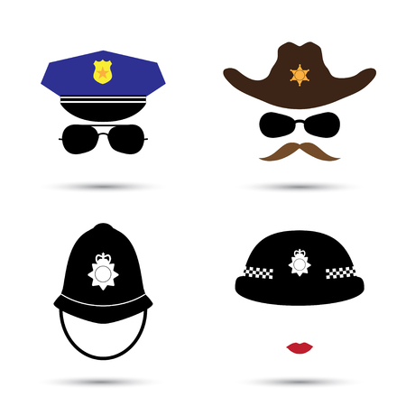 police icon: Set of colorful vector icons isolated on white. Policeman icon.  Sheriff icon. Cowboy icon. British police helmet
