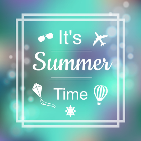 time frame: Summer Design. Blur Beach Background. Summer Time blue card design with a textured abstract background and text in square frame.  Lettering design element