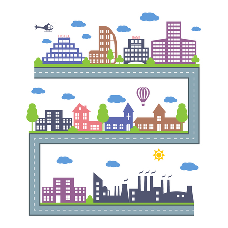 constructor: City Skylines. Landscape constructor icons set. Vector elements of town isolated on white. Set of buildings in the style of small business flat design. Road and city architecture Illustration