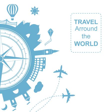 rosa vientos: Famouse lugares. Viajar cerca de la ilustración del vector del mundo. Viajar en avión, viaje en avión en varios países. icono plana moderna del cartel del estilo de diseño. bandera del viaje. Rosa de los vientos agencia de viajes ronda icono. Vectores