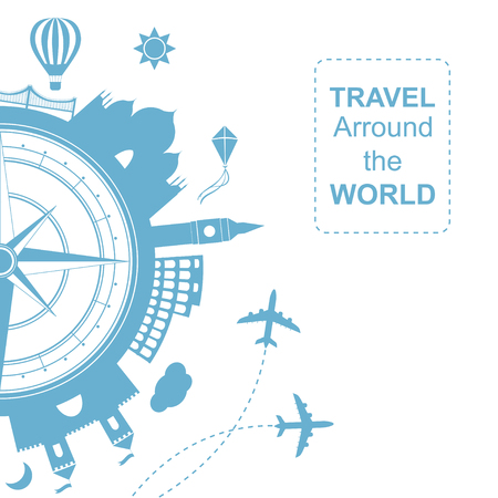 wind instrument: Famouse places. Travel arround the world vector illustration. Travelling by plane, airplane trip in various country.  Flat icon modern design style poster. Travel banner. Wind rose Travel agency round icon. Illustration