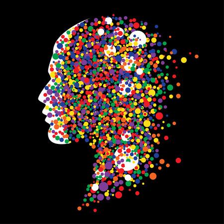 cabeza humana sobre fondo negro. Ilustración abstracta del vector con los círculos coloridos