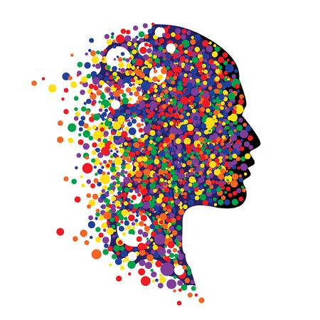 Cabeza humana aislada en el fondo blanco. Resumen ilustración vectorial de la cara con círculos de colores Foto de archivo - 54795501