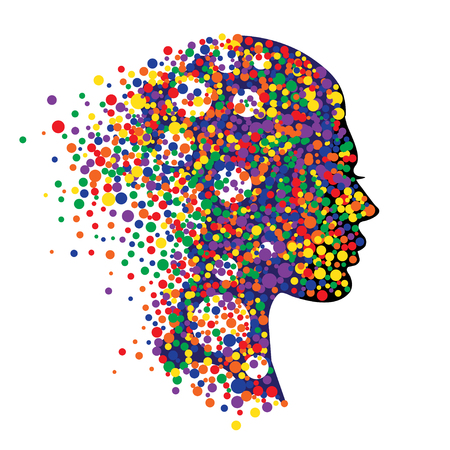 Woman head isolated on white background. Abstract illustration of face  with colorful circles Illustration