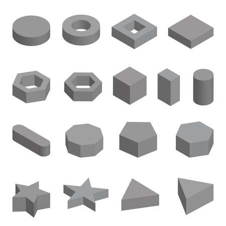 solids: Monochrome set  of geometric shapes, platonic solids illustration isolated on white