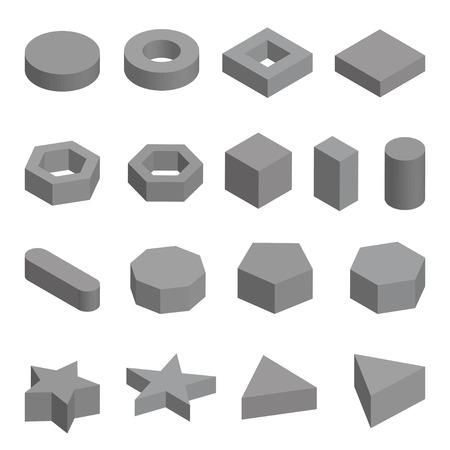school kit: Monochrome set  of geometric shapes, platonic solids illustration isolated on white