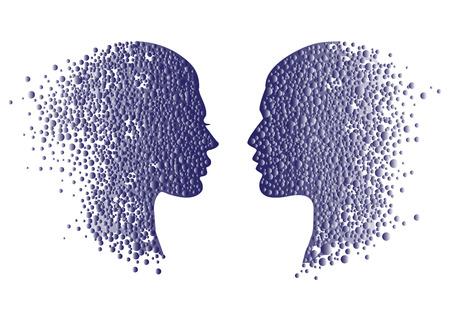 El hombre y la mujer cabeza iconos. Concepto de psicología de la ilustración, arte del vector, diseño del logotipo. Resumen cara pareja con círculos degradados