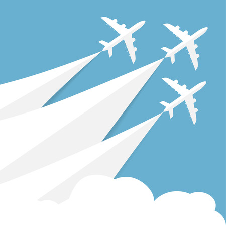 Vector poster with airplanes, minimalistic style, card for travel agencies, aviation companies. Jets in blue sky Illustration