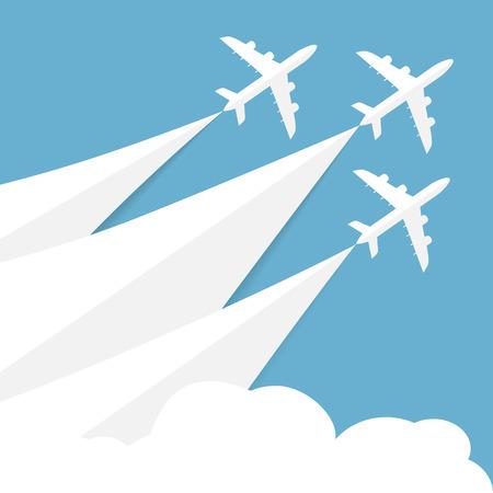 Vector Plakat mit Flugzeugen, minimalistischen Stil, Karte für Reisebüros, Luftfahrtunternehmen. Jets im blauen Himmel