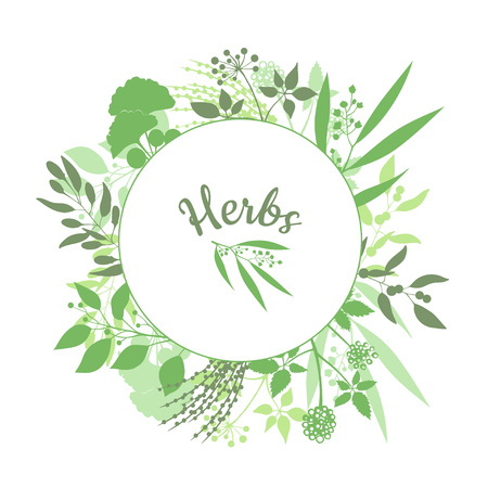 shape silhouette: Green round frame with collection of plants. Silhouette of branches isolated on white background