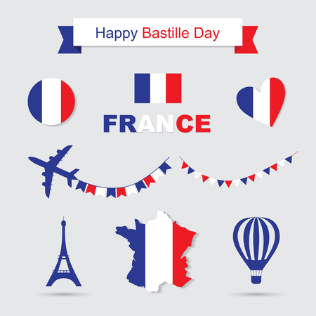 bastille: Bastille Day, Independence Day of France, symbols. French flag and map icons set. Eiffel Tower icon