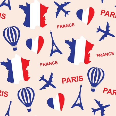 national holiday: Seamless pattern background with France landmarks and Eiffel Tower  vector illustration. French background with map and flag