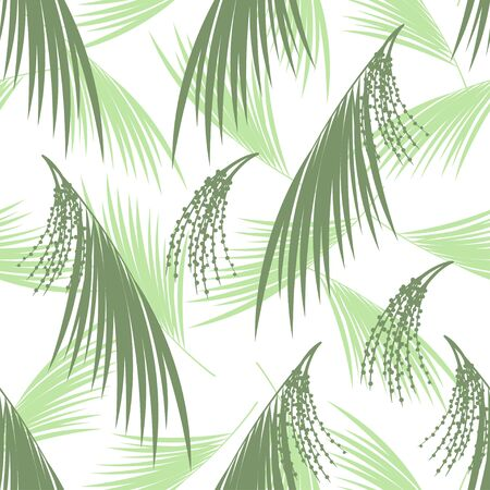 subtropical: Seamless pattern berries and leaves of Acai palm. Floral background. Vector illustration. Tropical palm Illustration