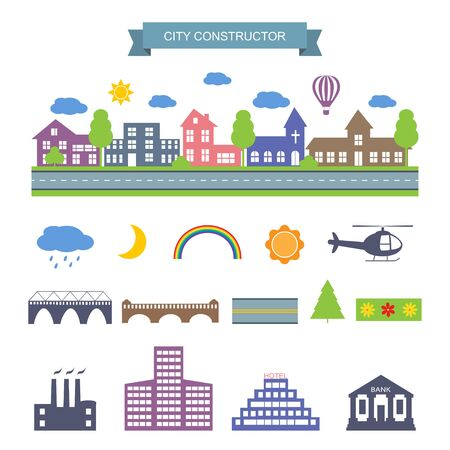 landscape architecture: Landscape constructor icons set. City Skyline. Buildings houses, bridges, sun, moon, trees and architecture signs for map, game, texture. Design vector element isolated on white. road elements, city elements, weather icons