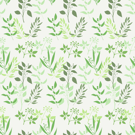 Seamless green plant background. Endless pattern with green twigs and leaves silhouette. Vector illustration Ilustracja