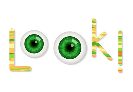 green eyes: Cartoon green eyes. Vector illustration. Look concept text