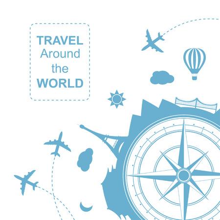 Famouse lugares. Viajar por todo el mundo ilustración vectorial. Viajar en avión, viaje en avión en varios países. icono plana moderna del cartel del estilo de diseño. bandera del viaje. Rosa de los vientos agencia de viajes ronda icono.