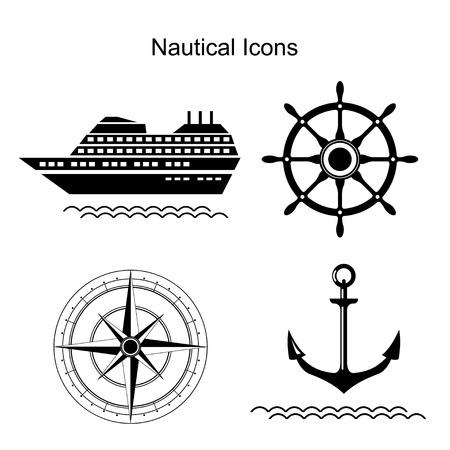 wind wheel: Nautical symbols. Ship, anchors and steering wheel, wind rose icons. Vector illustration Illustration