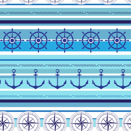wind wheel: Seamless nautical blue colorful pattern with steering wheel, wind rose and anchors. Vector illustration Illustration