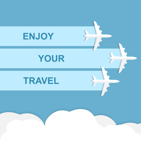 jets: Vector poster with airplanes, minimalistic style, card for travel agencies, aviation companies. Jets in blue sky. Enjoy your travel concept Illustration