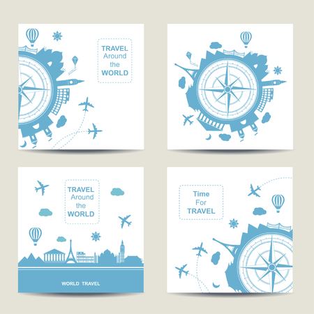 travel card: Set of four travel card templates. Square cards. Famouse places. Travel around the world vector illustration. Travelling by plane, airplane trip in various country. Flat icon modern design style poster. Travel banner. Travel agency round icon.