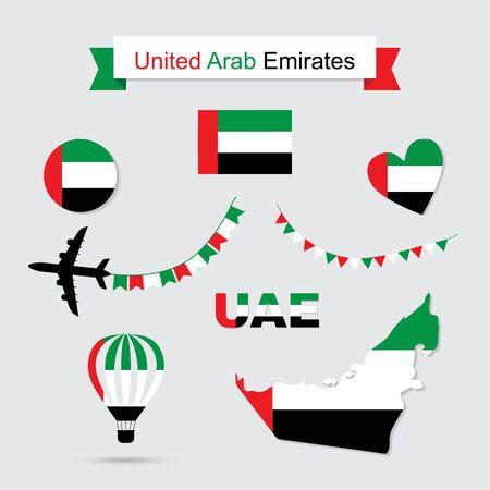UAE flag and map icons set. United Arab Emirates symbols. Independence Day. Vetores