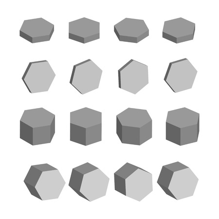 solids: Hexagon Monochrome set of geometric prism shapes, platonic solids, illustration Illustration