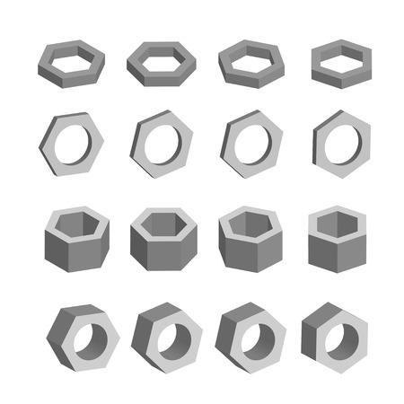 prisma: Hexágono blanco y negro conjunto de prismas geométricos, sólidos platónicos, ilustración