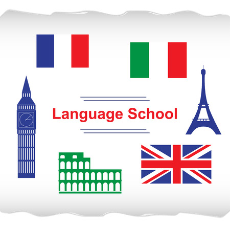 talking dictionary: Language school poster, banner with flags and icons of Italy, France, England. Illustration