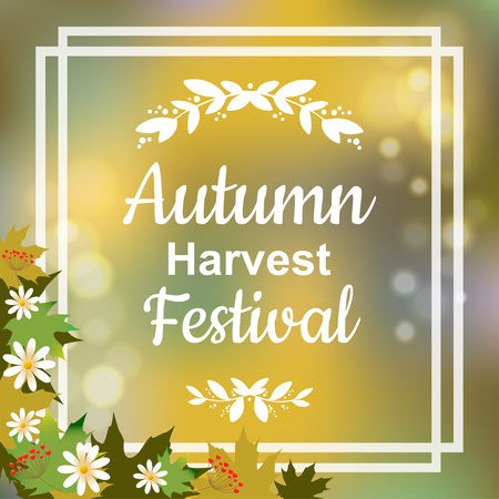 harvest festival: Autumn harvest festival. colorful illustration on blurred background