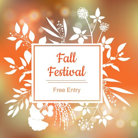 Fall festival. colorful illustration on blurred background. Illustration