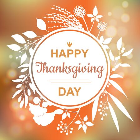 Happy Thanksgiving card design with elegant branch round frame and text Illustration