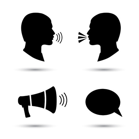 loud noise: Talk or speak icons. Loud noise symbols. Human talking sign. Megaphone icon.