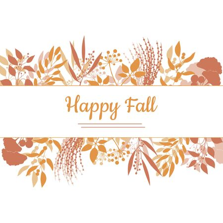 a sprig: Flat design style Happy Fall card template