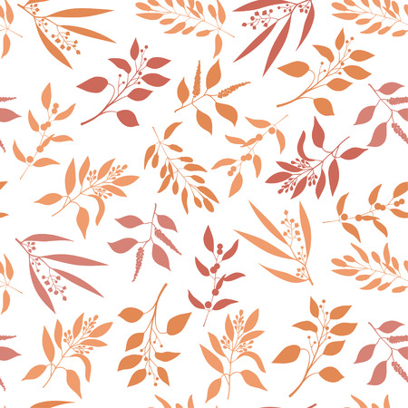 twigs: Seamless plant background. Endless pattern with orange twigs and leaves silhouette.