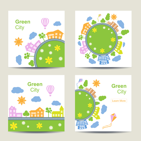 town square: Set of four square card templates vector illustration. Silhouette of city around circle with building and road. Town landscape