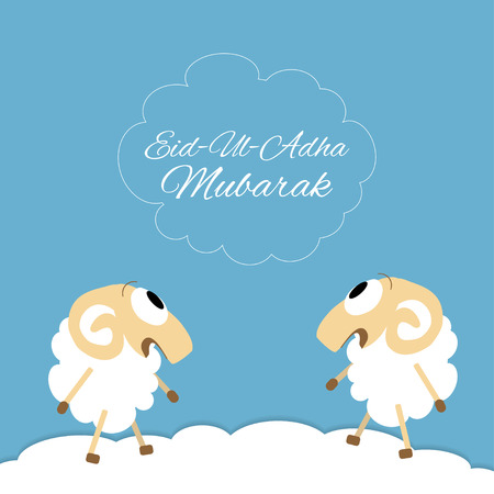 relegion: Eid-al-adha Mubarak Muslim community festival of sacrifice greeting card with sheep. Vector Illustration