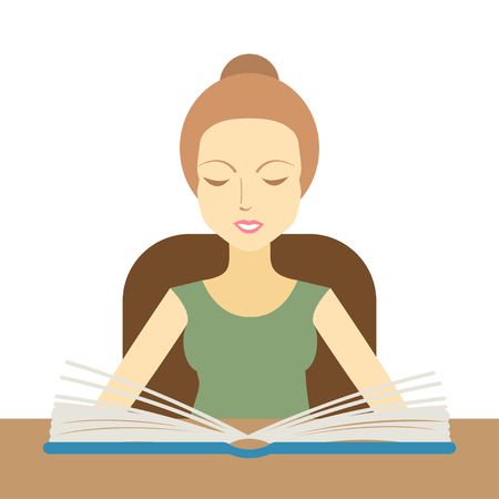 schooldays: Woman reading a book at the table. Vector illustration Illustration