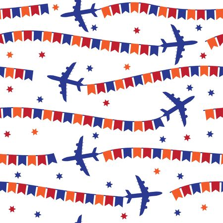 Avión De Dibujos Animados Con Banderas Sin Patrón, Fondo, Vector De ...