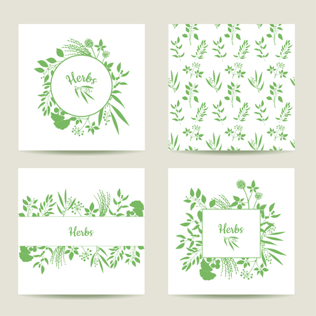 herbal background: Set of four herbal card templates. Square cards vector illustration. Green round and square frame with collection of plants. Silhouette of branches isolated on white background