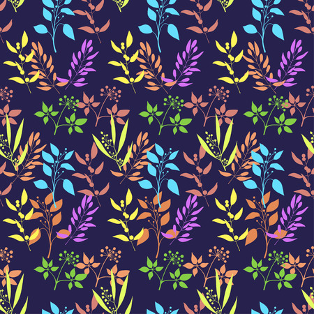 Seamless plant background. Endless pattern with colorful twigs and leaves silhouette. Vector illustration