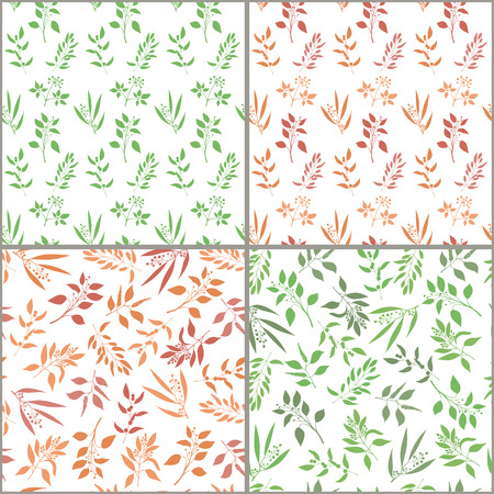 Seamless plant background set. Endless pattern with orange and green twigs and leaves silhouette.  illustration on white background Иллюстрация