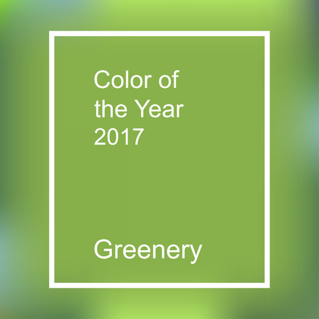 Color of the year 2017. Greenery trendy background with frame