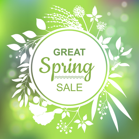 great: Great spring Sale Banner Illustration