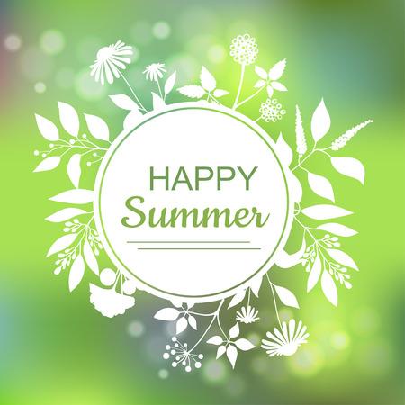 a sprig: Happy Summer green card design Illustration